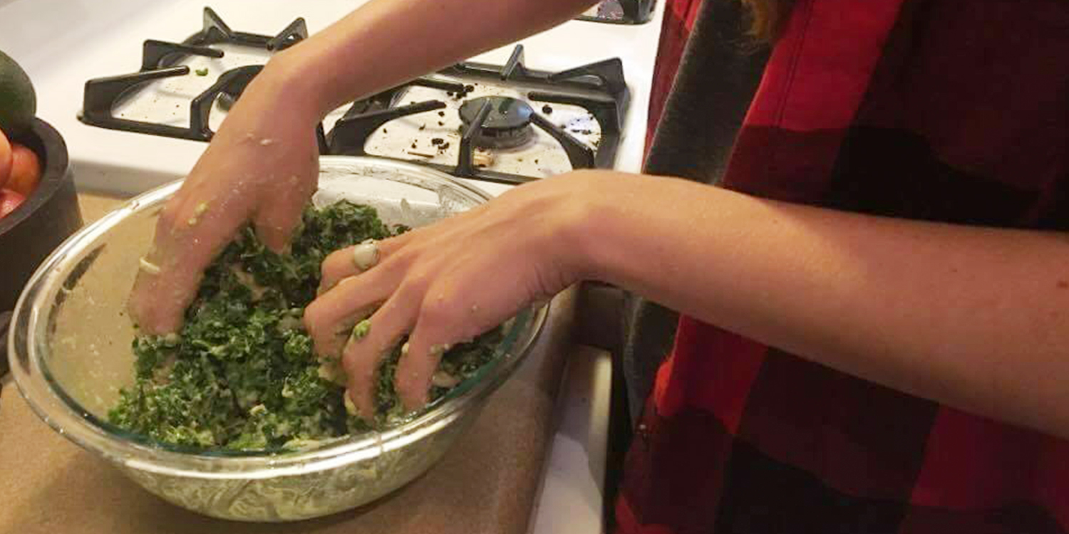 Mixing up Kale Salad